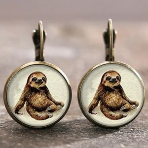 Sloth Bronze Glass Cabochon Lever Back Earrings